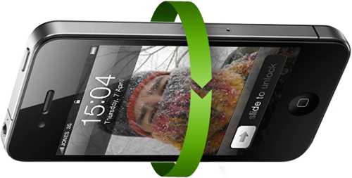 Illustration of an iPhone rotating in space to show device orientation with a green arrow and a crazy photo of me in the February 2011 Chicago blizzard as the wallpaper